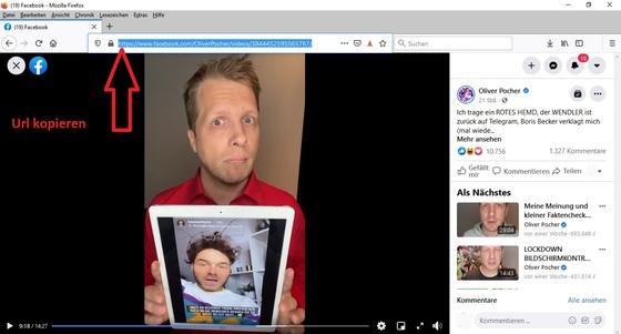 Die Url des Videos aus der Adressleiste des Browserfensters kopieren.
