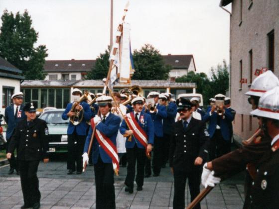 Feuerwehr Königstädten - 40. Jubiläum 5. - 8.6.1970 Fanfarenzug startet den Festumzug