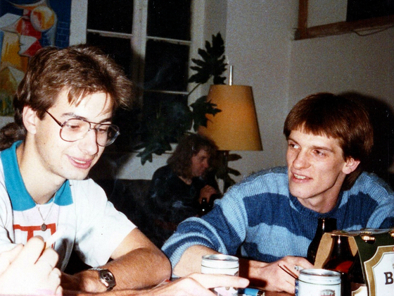 Binding-Bier-Party - Herberge - Berlin-Kreuzberg - 1988 - Andy und Vermieter