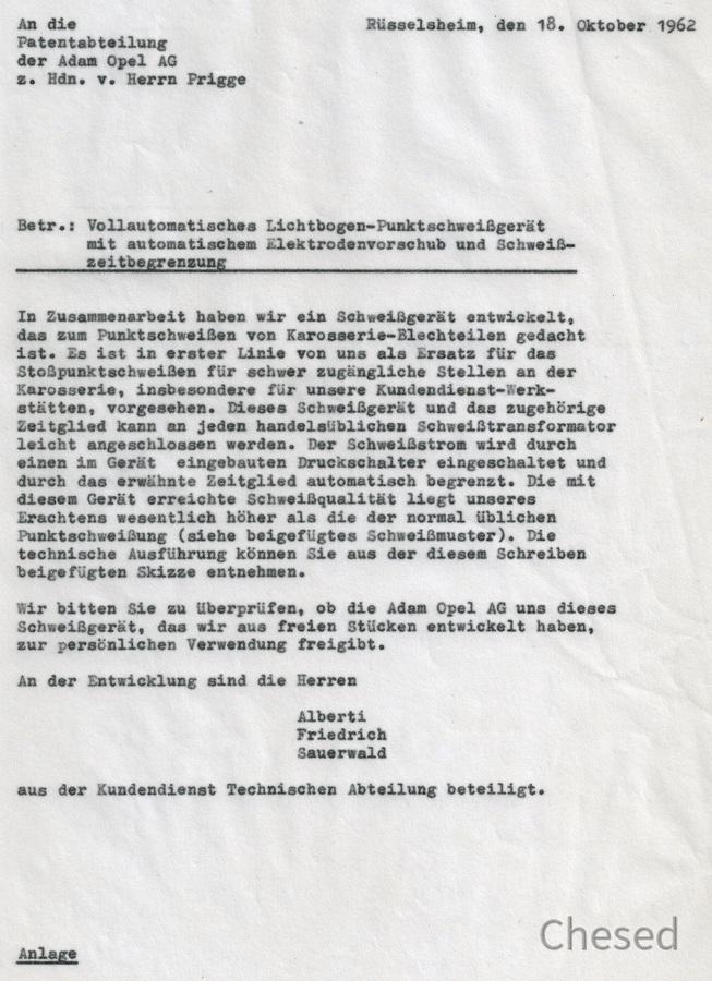 Punktschweißgerät - Patentanmeldung - Rüsselsheim Adam Opel AG