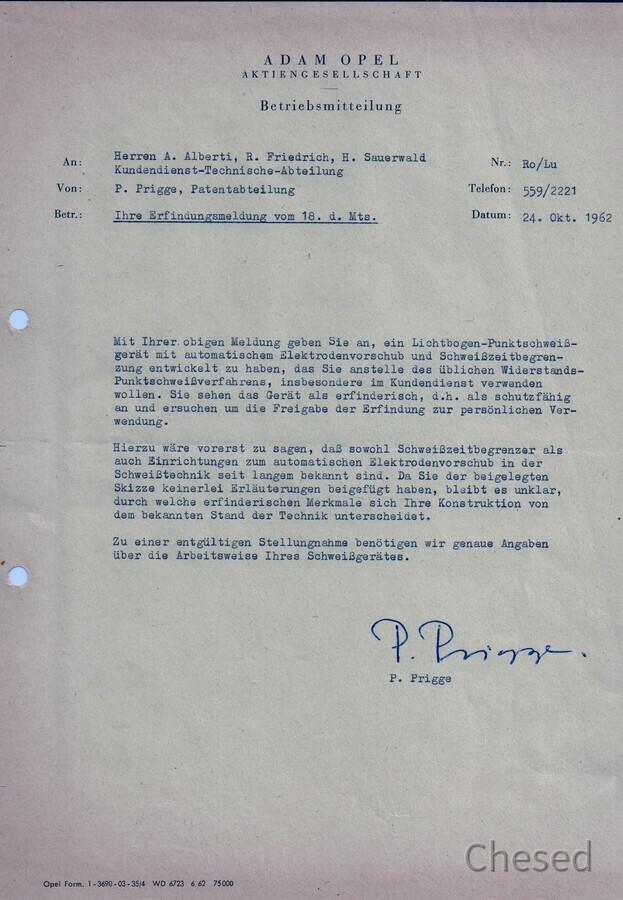 Erste Antwort auf die Patentanmeldung des Punktschweißgeräts in Rüsselsheim