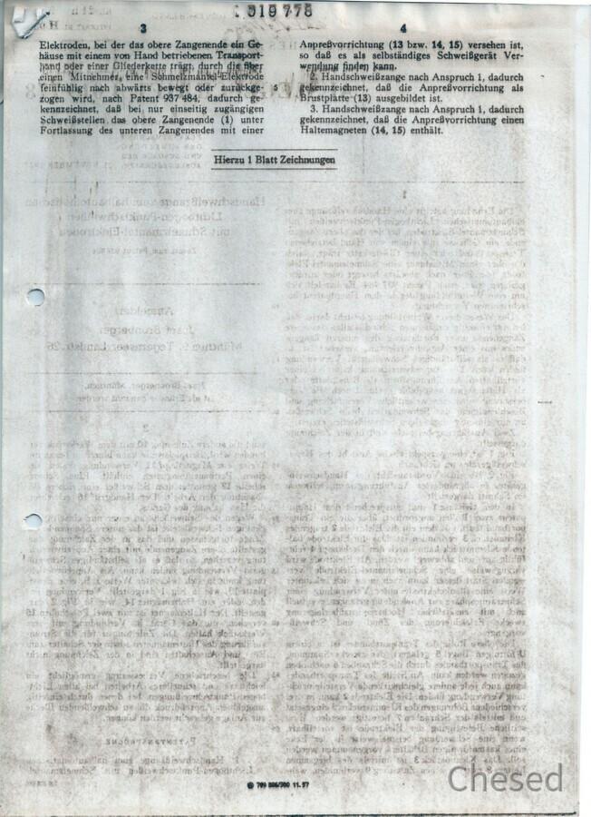 Zweite Antwort auf die Patentanmeldung des Punktschweißgeräts in Rüsselsheim - Teil2