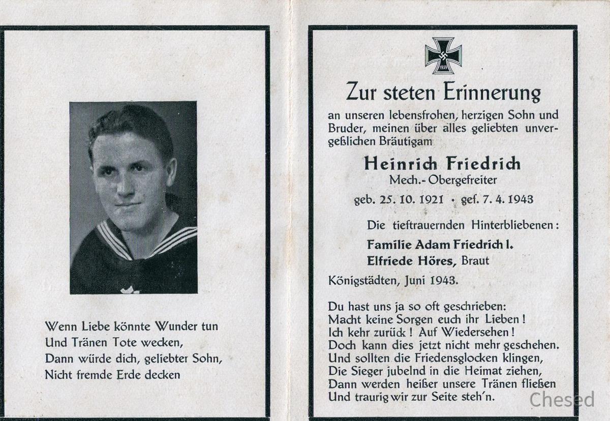 Heinrich Friedrich gefallen 1943 im Schwarzen Meer-Todesanzeige-Innen