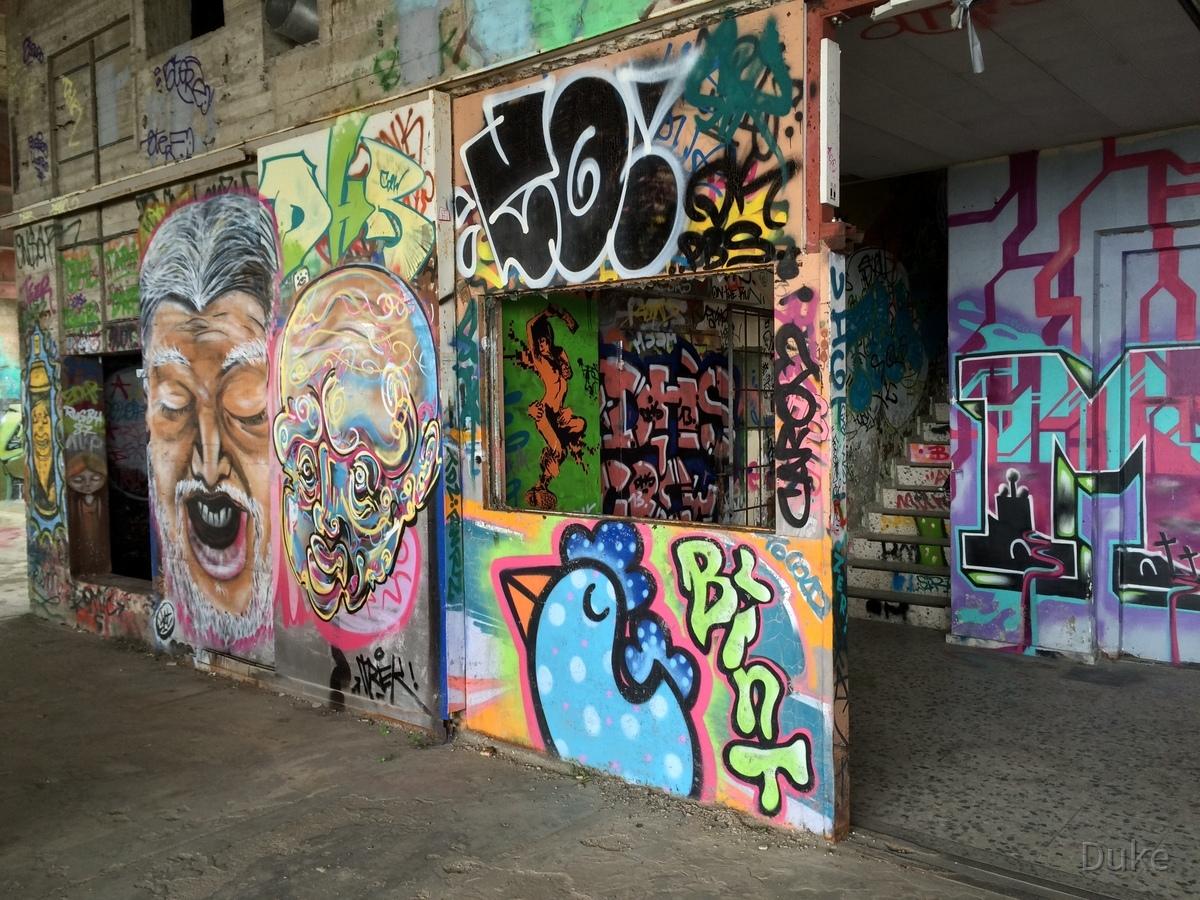 Berlin - Teufelsberg - Graffiti - Alien Face & Old Man