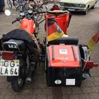MZ Motorrad mit Beiwagen - Heckansicht