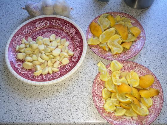 Zutaten für Zitronen-Knoblauch-Kur