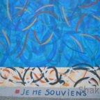 East Side Gallery - Berlin - Graffitis - Blau mit Streifen