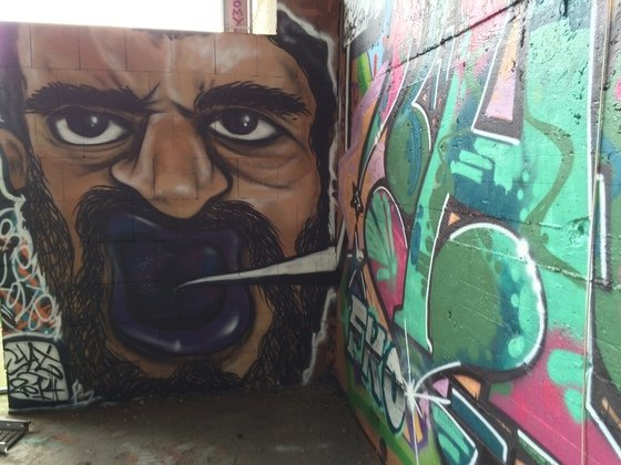 Berlin - Teufelsberg - Graffiti - Purple Mouth Man