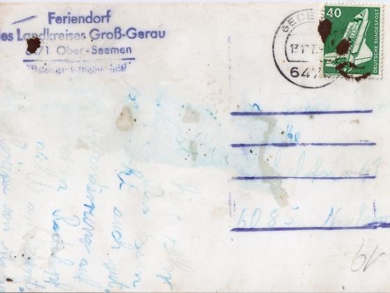 Klassenfahrt in Ober-Seemen 1977 - Rückseite der Karte des Klassenfotos