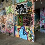 Berlin - Teufelsberg - Graffiti - Alien Face & Old Man
