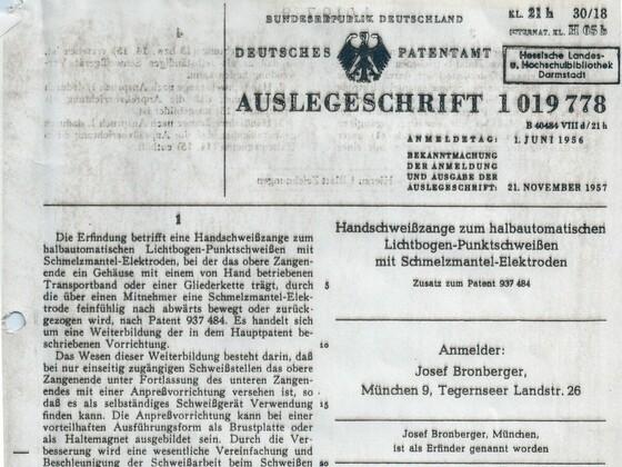 Zweite Antwort auf die Patentanmeldung des Punktschweißgeräts in Rüsselsheim