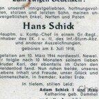 Hans Schick gefallen 1944 bei Newel-Todesanzeige-Aussen