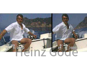 Heinz fährt Motorboot in Korfu