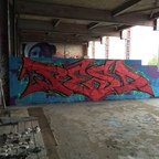 Berlin - Teufelsberg - Graffiti - Red Letters On Blue Background