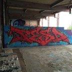 Berlin - Teufelsberg - Graffiti - Red Letters On Blue Background