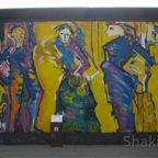 East Side Gallery - Berlin - Graffitis - Blaue Figuren auf Gelb