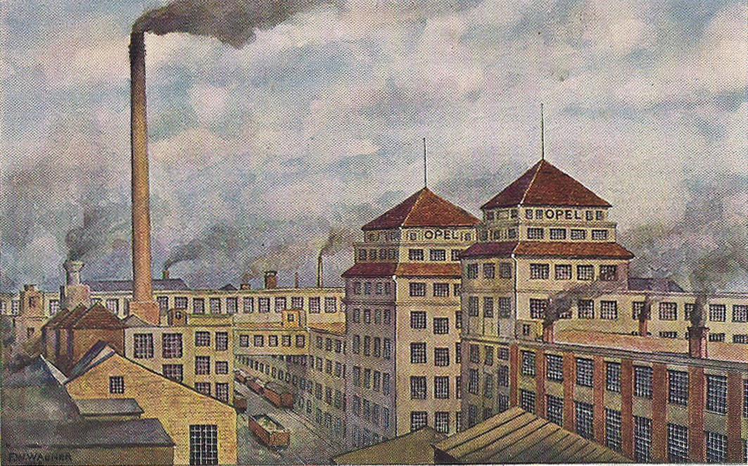 Postkarte Rüsselsheim Opelwerk 1917