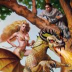 Frau reitet Drachen 🐲 Mönch versteckt sich im Baum