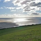 Panoramablick auf Croyde Strand