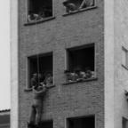 Feuerwehr Königstädten - Brandmeisterlehrgang - Kassel 1962 - Abseilen Hochhaus